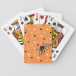 """Halloween party playing cards<br><div class=""""desc"""">Unique Halloween-themed design featuring a trick-or-treating spider holding candy corn. Perfect for your Halloween magic.</div>"""