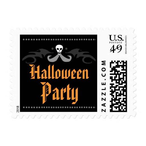 Halloween Party Postage  Orange & Black Skull