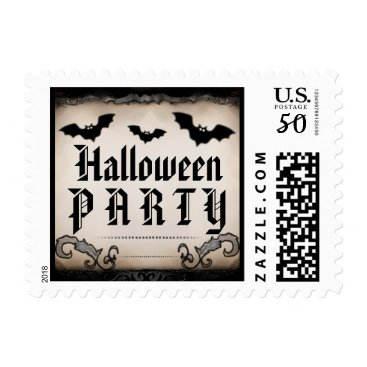 Halloween Themed Halloween Party Postage - Tan & Black with Bats