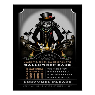 Halloween Party Poster 16 x 20 Ghoulish Bash