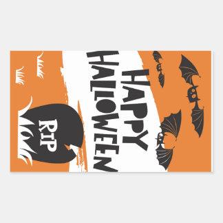 Halloween Party Print - Bats and Cemetery RIP Rectangular Sticker