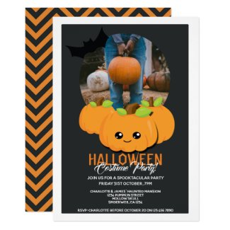 Halloween Party Pumpkin And Bat Personalized Invitation