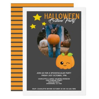 Halloween Party Pumpkin And Stars Personalized Invitation