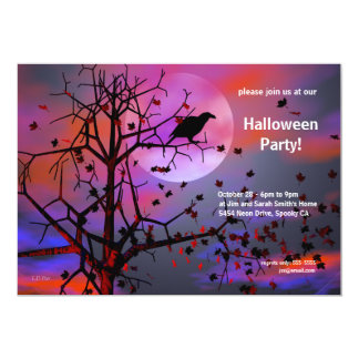 Halloween Party Raven Night Card