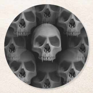 Halloween party | scary skull round paper coaster