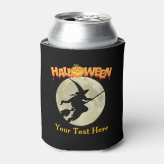 Halloween Party Scary Witch on Broom and Pumpkin Can Cooler