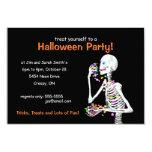 "Halloween Party Skeleton 3.5"" X 5"" Invitation Card"