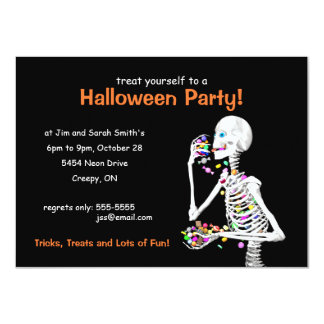 Halloween Party Skeleton 4.5x6.25 Paper Invitation Card