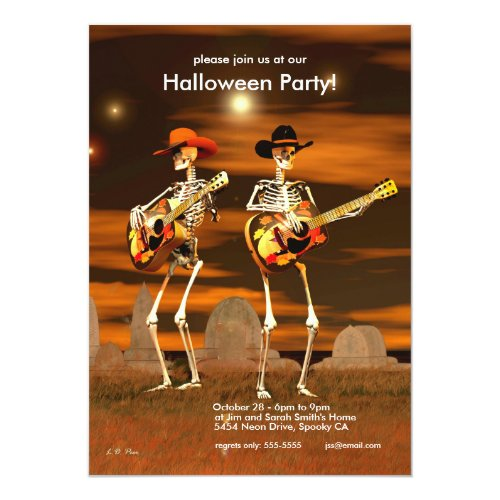 Halloween Party Skeleton Musicians Invitation