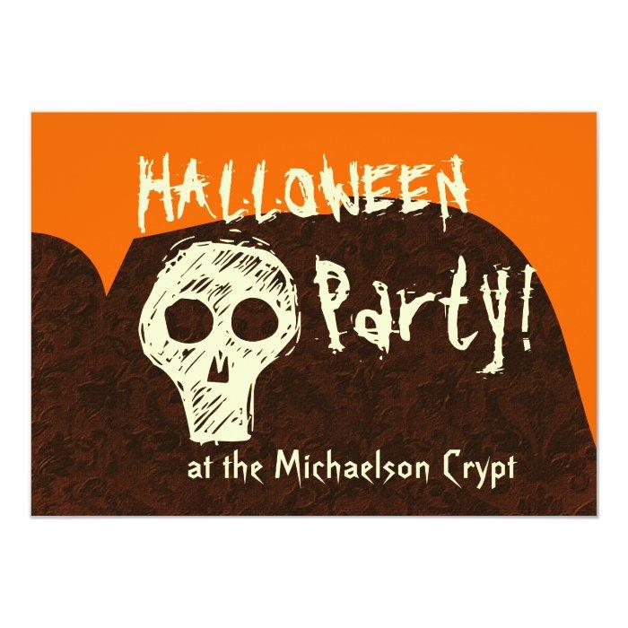 Halloween Party Skull Orange Brown V4 Card