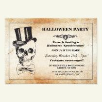 Halloween Party Skull Top Hat Bow Tie Spook Invite