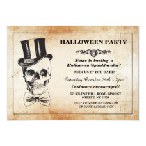 Halloween Party Skull Top Hat Bow Tie Spook Invite
