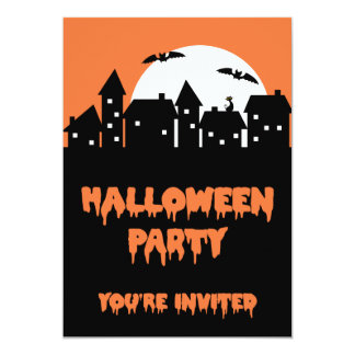Halloween Party Skyline with Full Moon and Bats 5x7 Paper Invitation Card