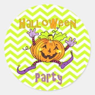 Halloween Party Smiling Pumpkin Classic Round Sticker