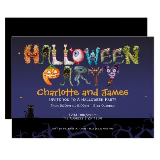 Halloween Party Spooky Typography Personalized Invitation