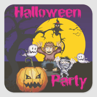 Halloween party square sticker