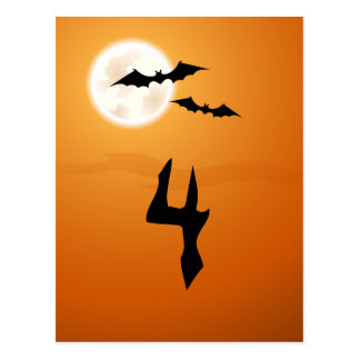 Halloween party table number cards, bats and moon postcard