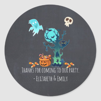 Halloween Party Thanks Ghosts Bats Skulls & Candy Classic Round Sticker