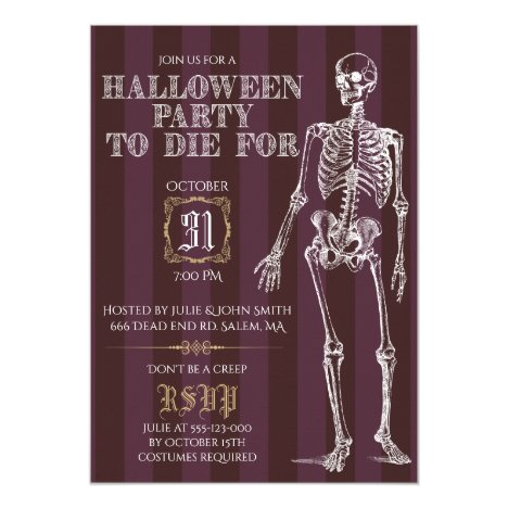 Halloween Party To Die For Invitation