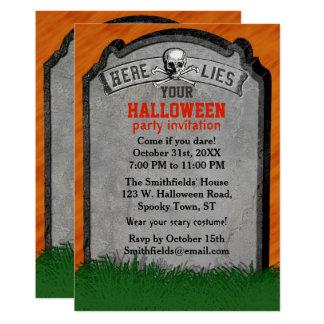 Halloween Party | Tombstone Grave Skull Crossbones Card