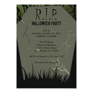halloween party tombstone invitation