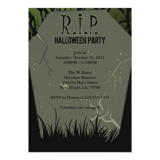 halloween party tombstone invitation