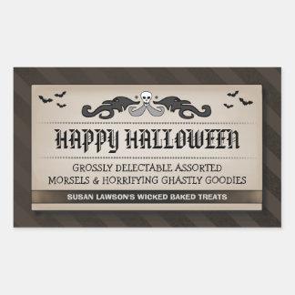 Halloween Party Treat or Drink Black & Brown Label Rectangular Sticker