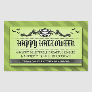 Halloween Party Treat or Drink Black & Green Label