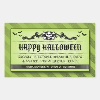 Halloween Party Treat or Drink Black & Green Label Rectangular Sticker