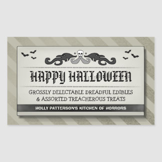 Halloween Party Treat or Drink Light Tan Label Rectangular Sticker