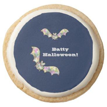 Halloween Themed Halloween Party Treats Bat and Heart Batty Round Shortbread Cookie