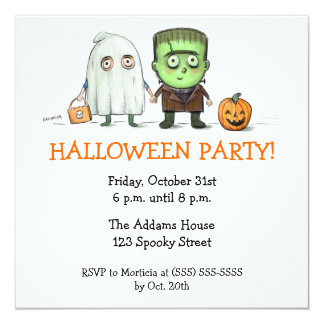"""Halloween Party Trick or Treater Invitations 5.25"""" Square Invitation Card"""