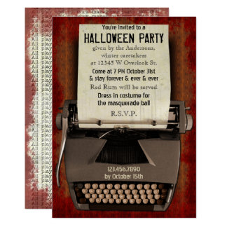 Halloween Party Typewriter Scary Horror Adult Card