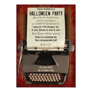 Halloween Party Typewriter Scary Horror Adult 5x7 Paper Invitation Card