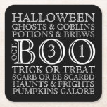 "Halloween Party Typography Coasters - B &amp; W<br><div class=""desc"">Celebrate the Halloween season with these vintage style typography coasters. Perfect to use for Halloween parties or events . If you would like to personalize the words or change the background color,  just click the Customize It button.</div>"