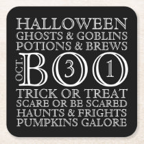 Halloween Party Typography Coasters - B & W