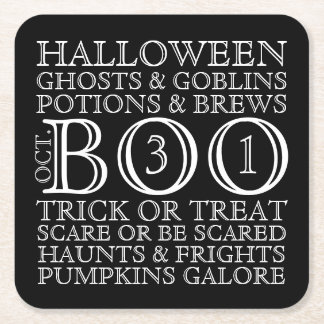 Halloween Party Typography Coasters - B & W