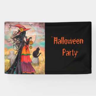 Halloween Party Witch and Cat Fantasy Art Banner