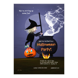 Halloween Party Witch and Cauldron Announcement