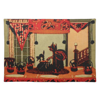 Halloween Party Witch Black Cat Crescent Moon Placemats