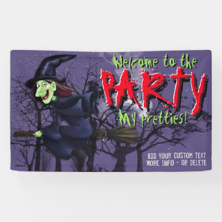 Halloween Party Witch Full Moon Customizable Banner