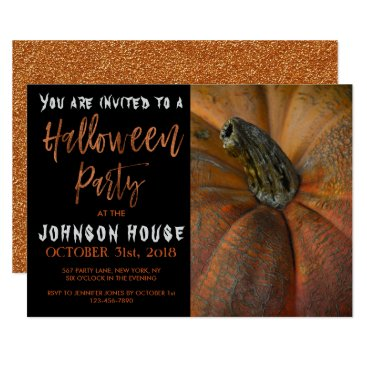 Halloween Themed Halloween Party with Modern Orange Typography Card