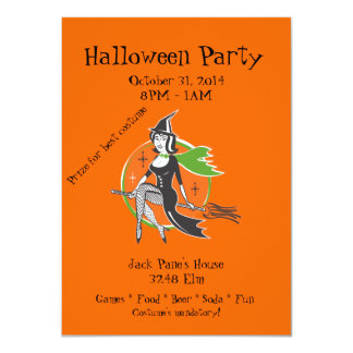 Halloween Party With Pretty Witch Card