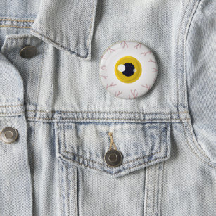 Halloween Party Yellow Eye Eyeball Scary Outfit Button
