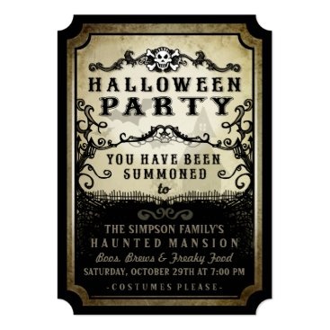 Halloween Themed Halloween Party You Have Been Summoned Black & Tan Card