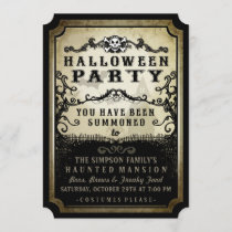 Halloween Party You Have Been Summoned Black & Tan Invitation