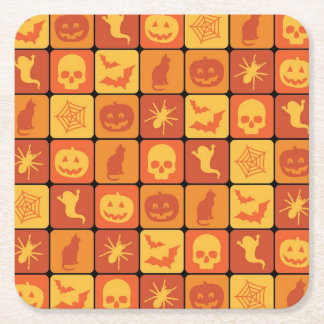 Halloween Pattern 2 Square Paper Coaster