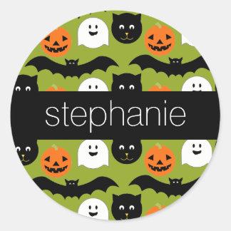 Halloween Pattern - Cute Bat Cat Pumpkin Ghost Classic Round Sticker
