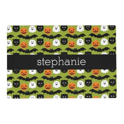 Halloween Pattern _ Cute Bat Cat Pumpkin Ghost Placemat