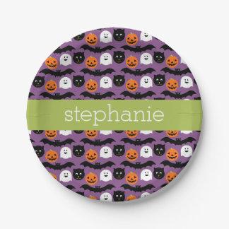 Halloween Pattern - Cute Bat Cat Pumpkin Ghost 7 Inch Paper Plate